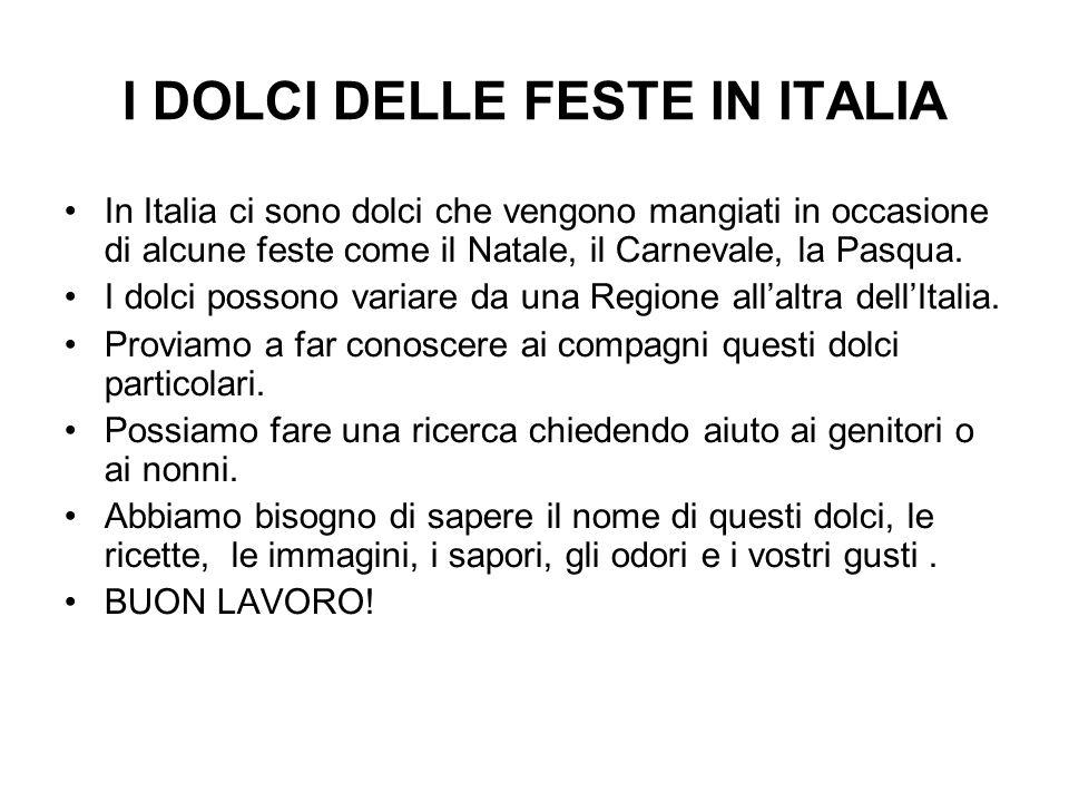 I DOLCI DELLE FESTE IN ITALIA