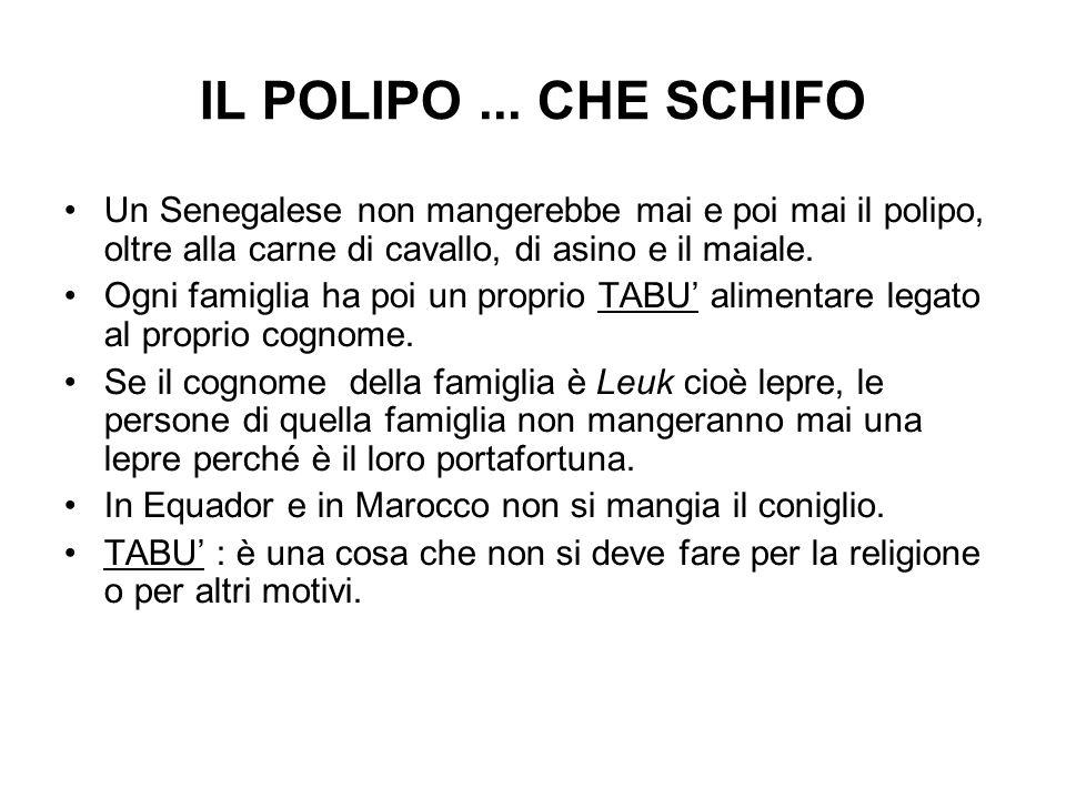 IL POLIPO ... CHE SCHIFO Un Senegalese non mangerebbe mai e poi mai il polipo, oltre alla carne di cavallo, di asino e il maiale.