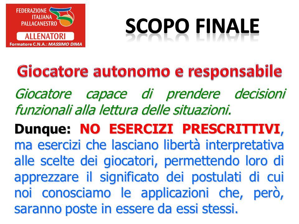 Formatore C.N.A.: Massimo Dima Giocatore autonomo e responsabile