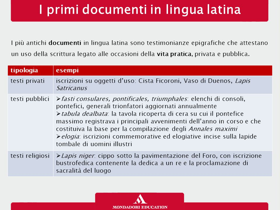 I primi documenti in lingua latina