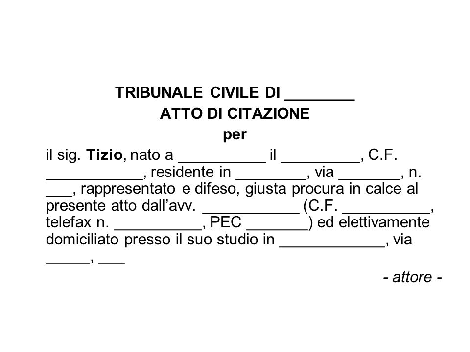 TRIBUNALE CIVILE DI ________