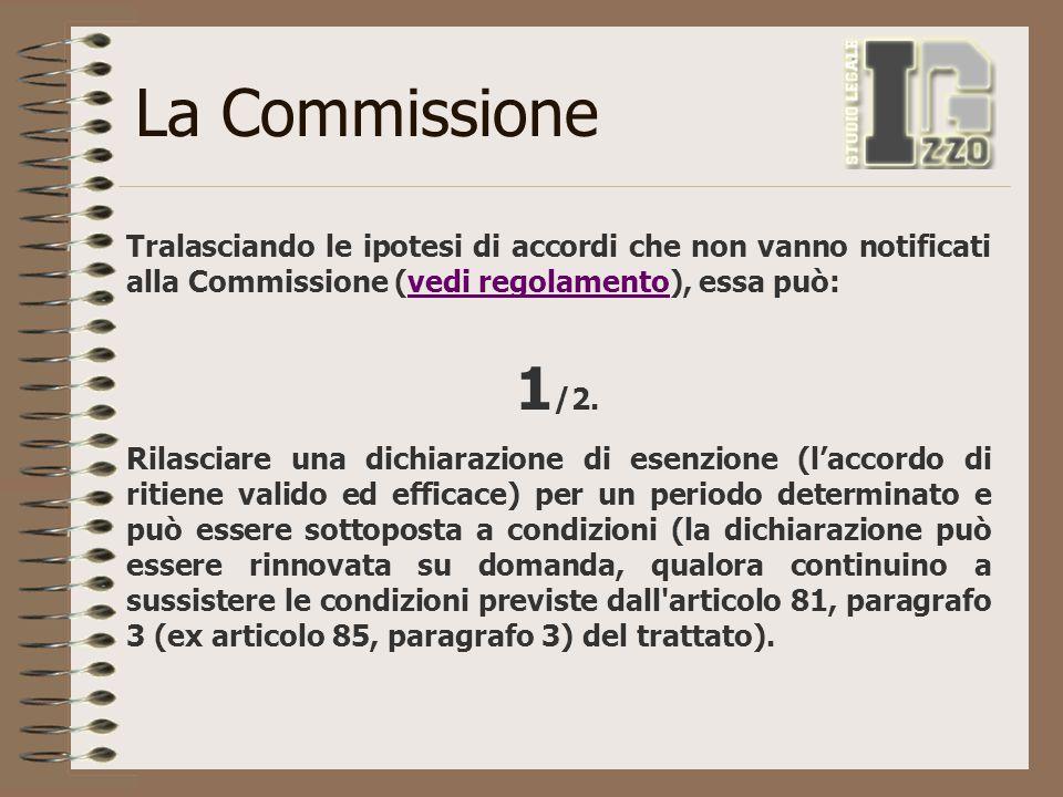 La Commissione Tralasciando le ipotesi di accordi che non vanno notificati alla Commissione (vedi regolamento), essa può: