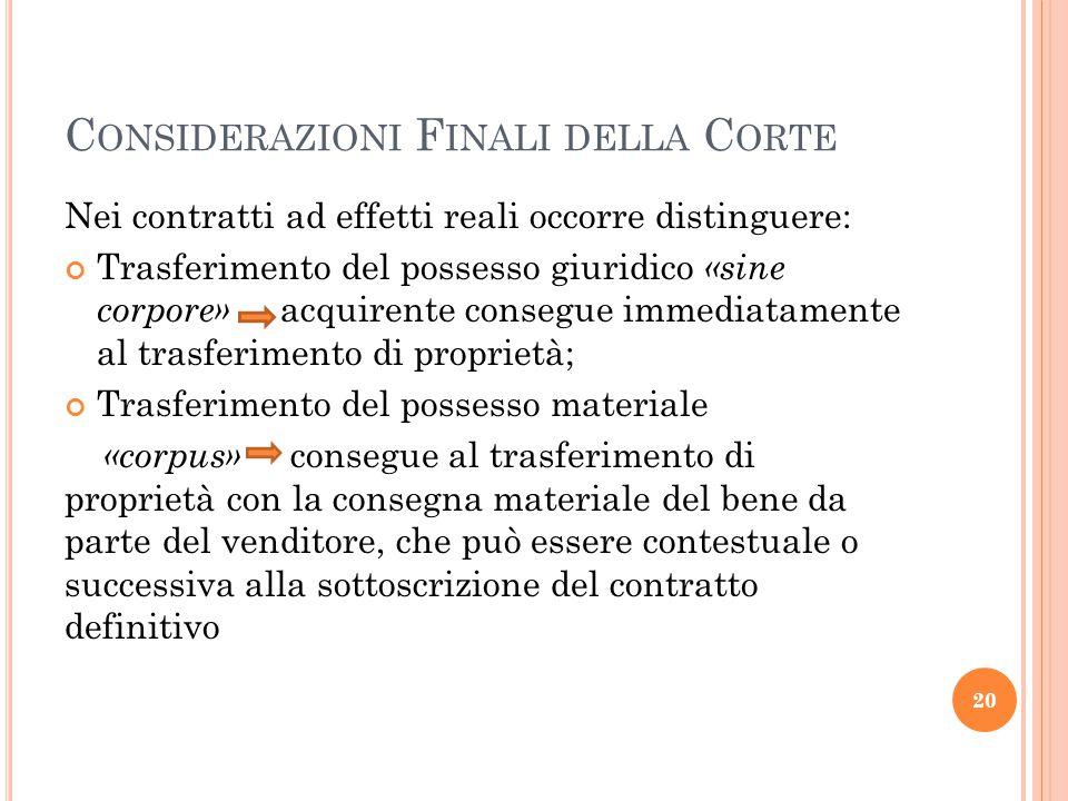 Considerazioni Finali della Corte