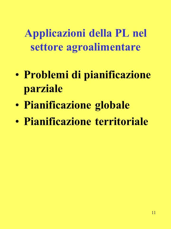 Applicazioni della PL nel settore agroalimentare