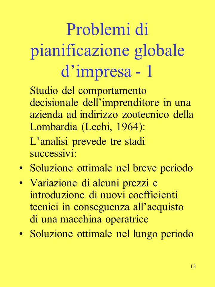 Problemi di pianificazione globale d'impresa - 1