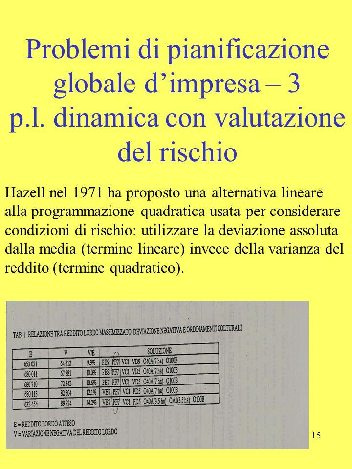 Problemi di pianificazione globale d'impresa – 3 p. l