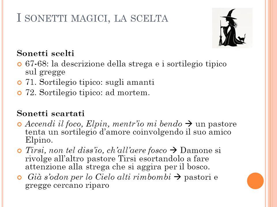 I sonetti magici, la scelta