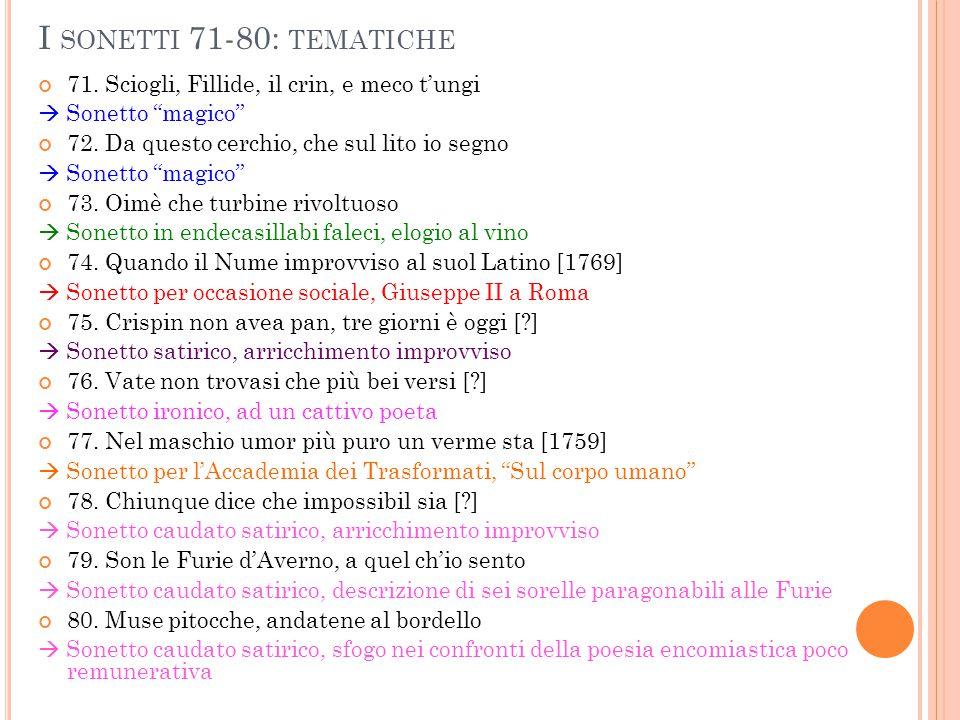 I sonetti 71-80: tematiche 71. Sciogli, Fillide, il crin, e meco t'ungi.  Sonetto magico 72. Da questo cerchio, che sul lito io segno.