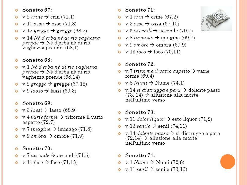 Sonetto 67: v.2 crine  crin (71,1) v.10 ossa  osso (71,3) v.12 gregge  gregge (68,2)