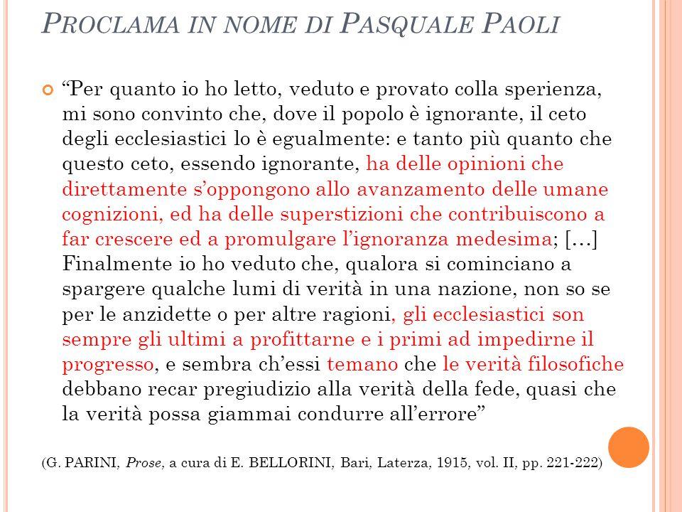 Proclama in nome di Pasquale Paoli