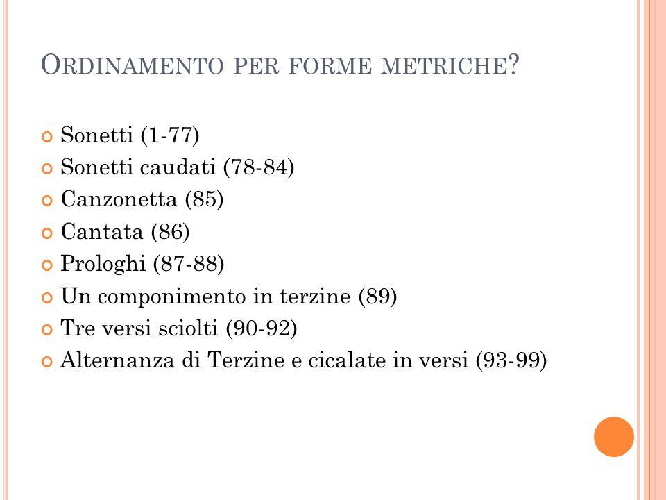 Ordinamento per forme metriche