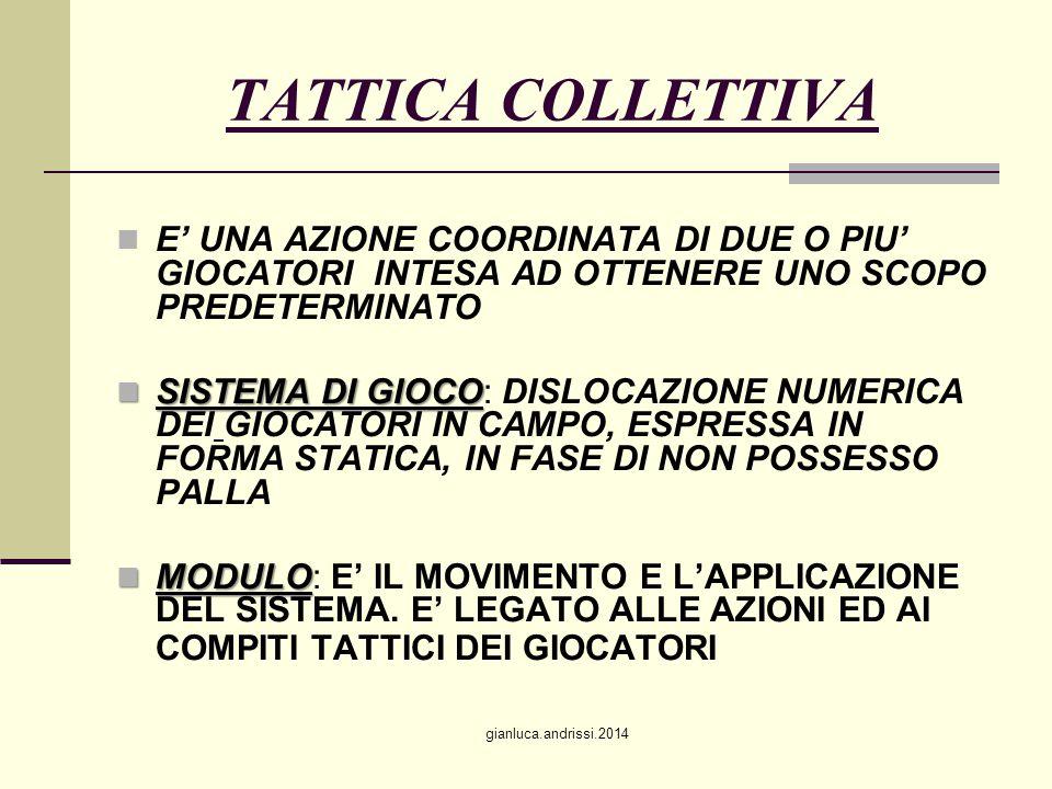TATTICA COLLETTIVA E' UNA AZIONE COORDINATA DI DUE O PIU' GIOCATORI INTESA AD OTTENERE UNO SCOPO PREDETERMINATO.