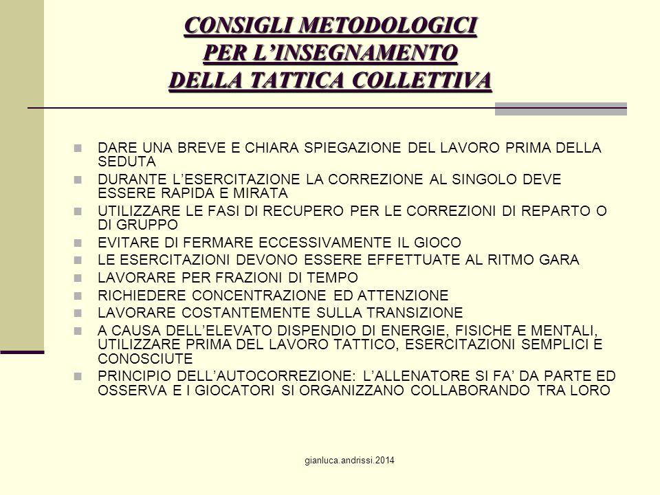 CONSIGLI METODOLOGICI PER L'INSEGNAMENTO DELLA TATTICA COLLETTIVA