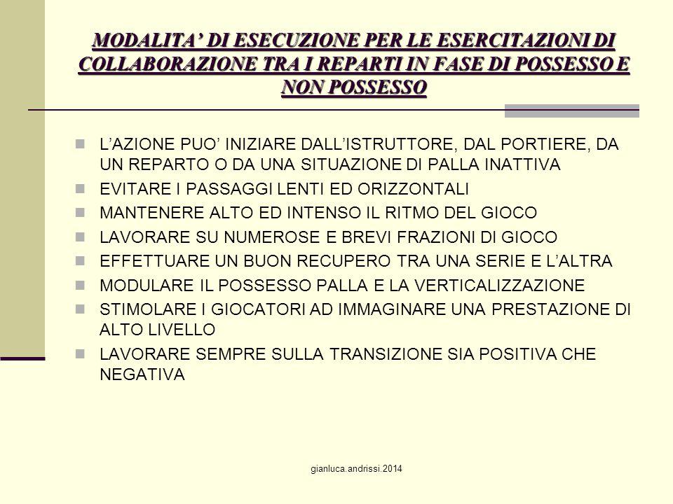 MODALITA' DI ESECUZIONE PER LE ESERCITAZIONI DI COLLABORAZIONE TRA I REPARTI IN FASE DI POSSESSO E NON POSSESSO