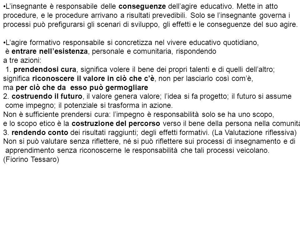 L'insegnante è responsabile delle conseguenze dell'agire educativo