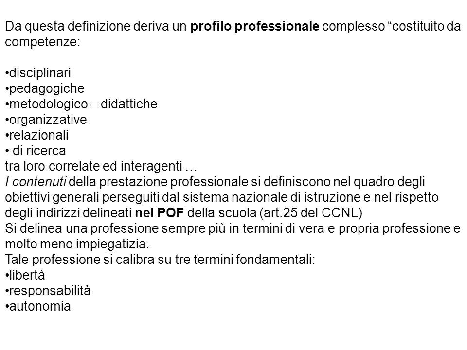 Da questa definizione deriva un profilo professionale complesso costituito da competenze: