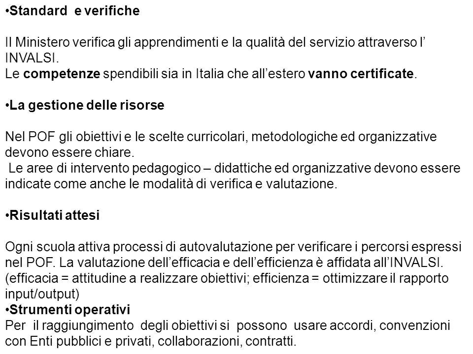 Standard e verifiche Il Ministero verifica gli apprendimenti e la qualità del servizio attraverso l' INVALSI.