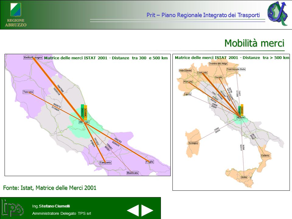 Mobilità merci Prit – Piano Regionale Integrato dei Trasporti