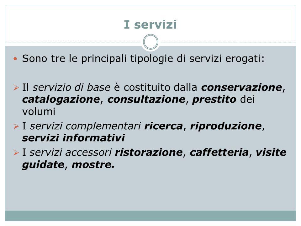 I servizi Sono tre le principali tipologie di servizi erogati: