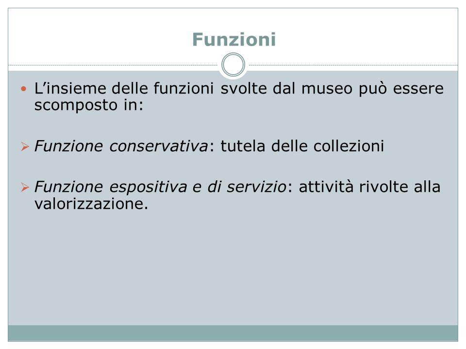 Funzioni L'insieme delle funzioni svolte dal museo può essere scomposto in: Funzione conservativa: tutela delle collezioni.