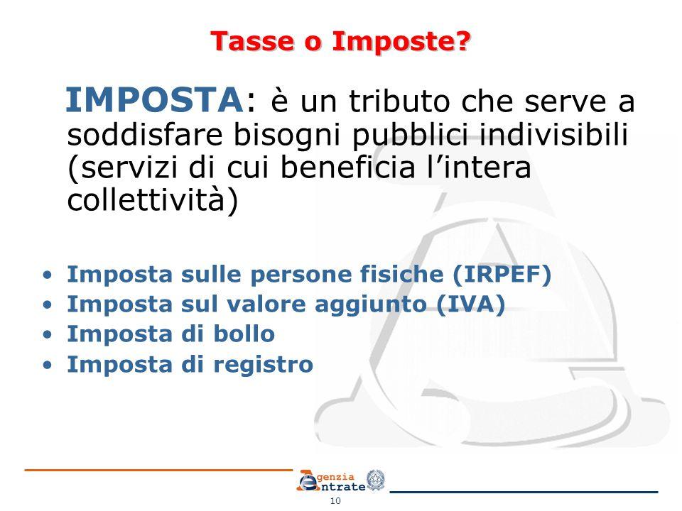 Tasse o Imposte IMPOSTA: è un tributo che serve a soddisfare bisogni pubblici indivisibili (servizi di cui beneficia l'intera collettività)