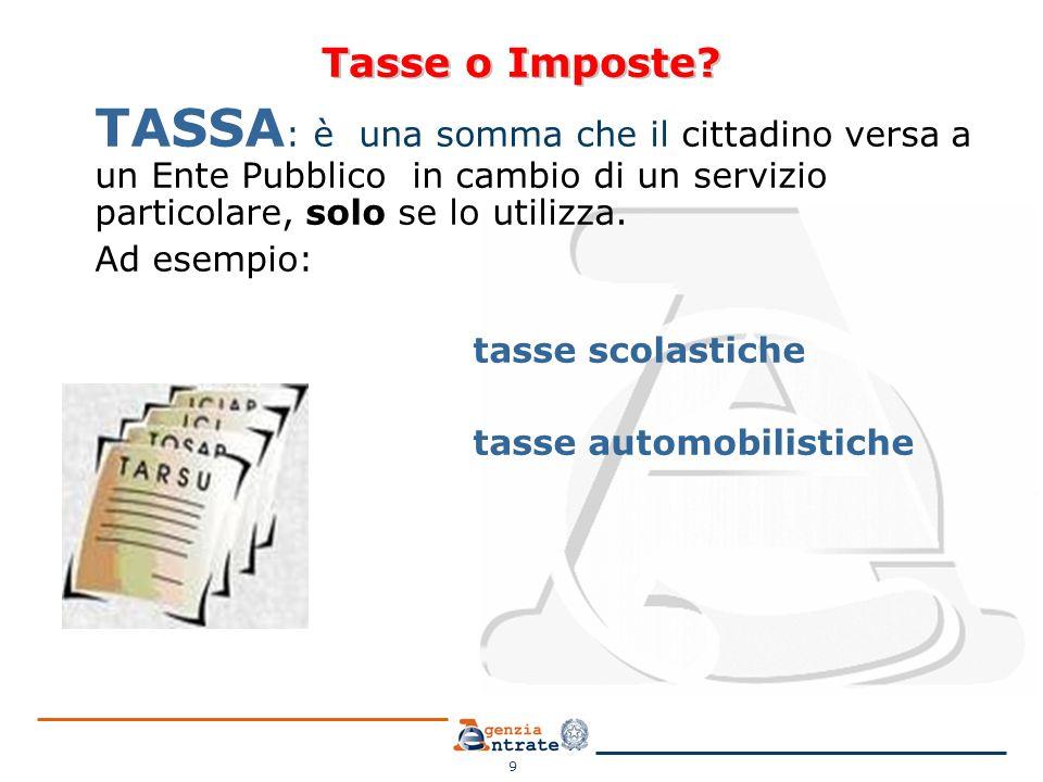 Tasse o Imposte TASSA: è una somma che il cittadino versa a un Ente Pubblico in cambio di un servizio particolare, solo se lo utilizza.
