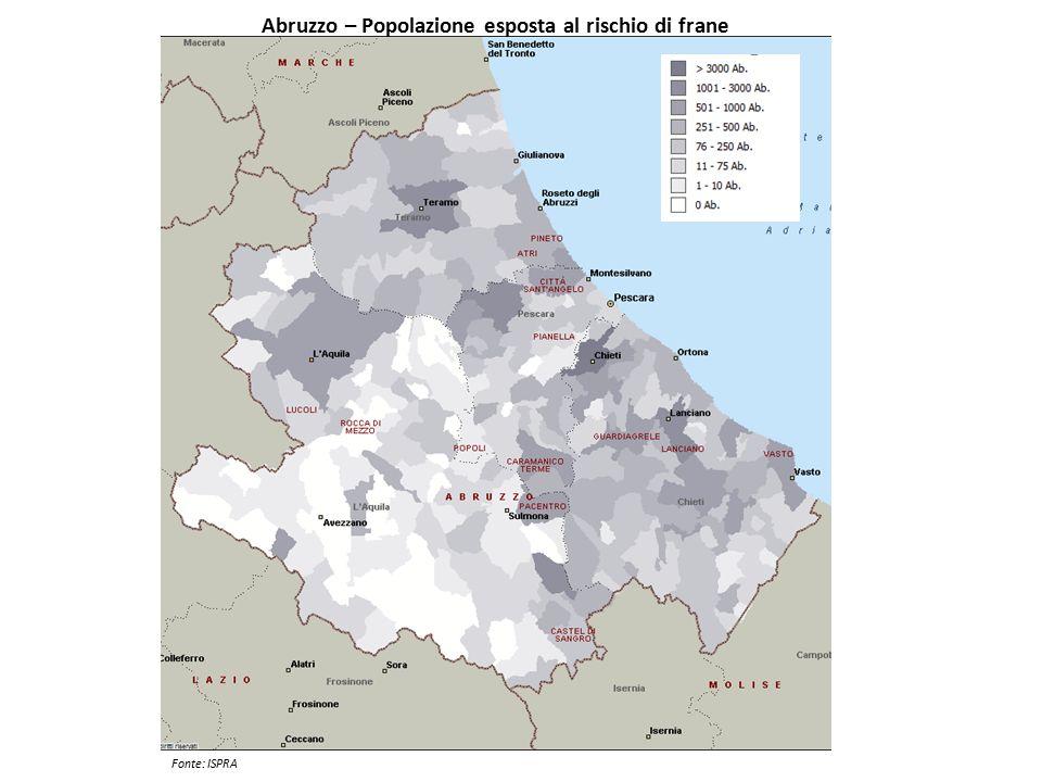Abruzzo – Popolazione esposta al rischio di frane