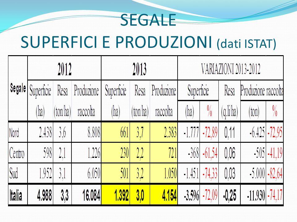 SEGALE SUPERFICI E PRODUZIONI (dati ISTAT)