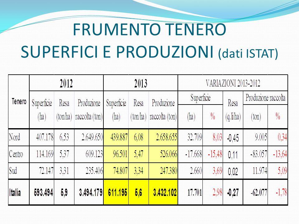 FRUMENTO TENERO SUPERFICI E PRODUZIONI (dati ISTAT)