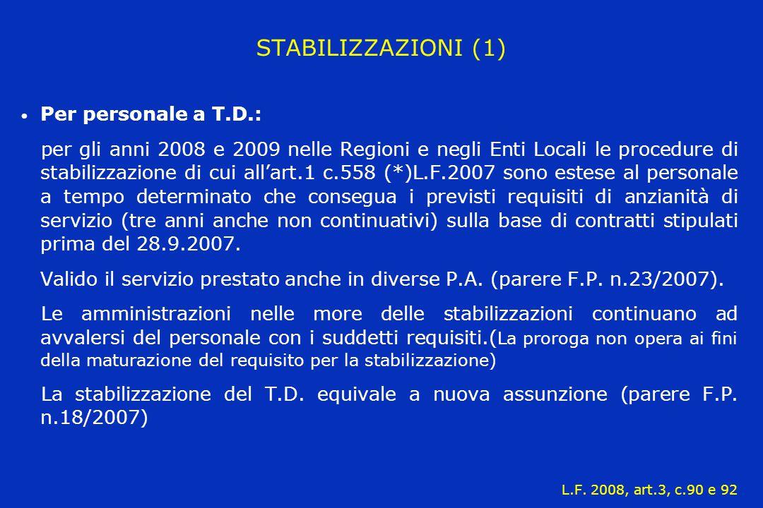 STABILIZZAZIONI (1) Per personale a T.D.: