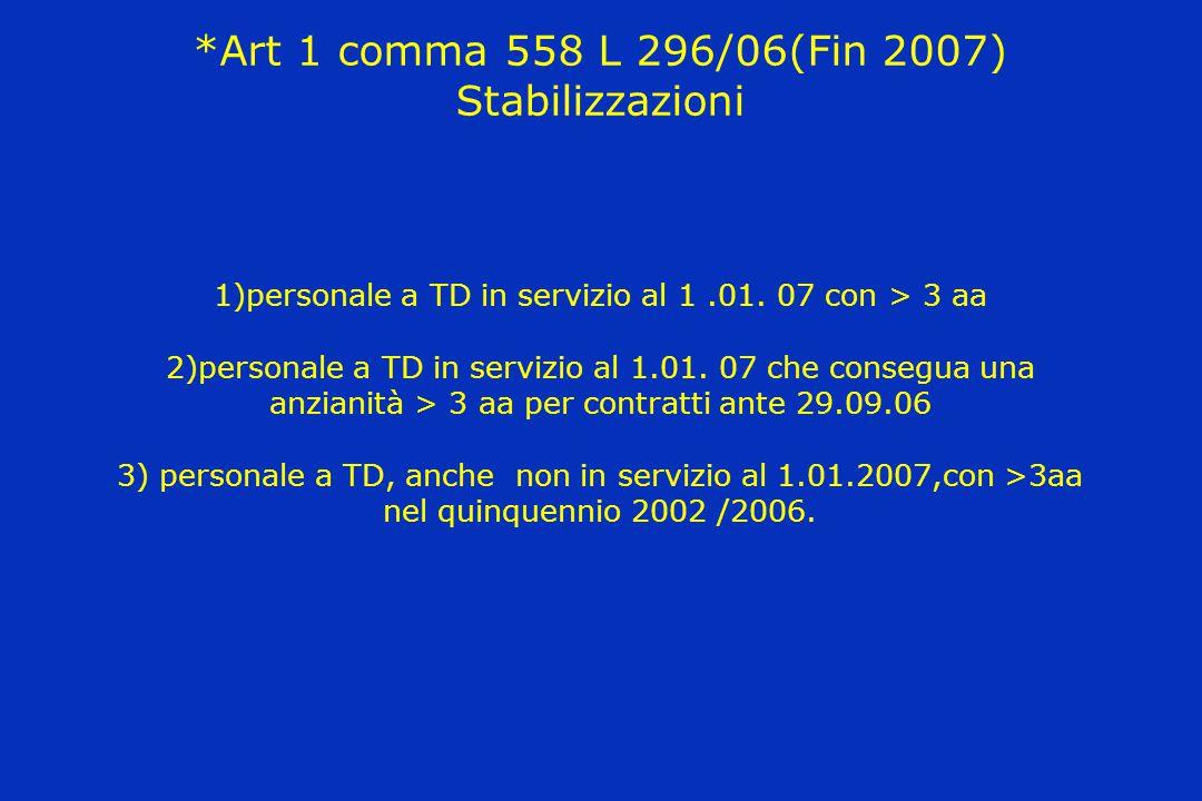 *Art 1 comma 558 L 296/06(Fin 2007) Stabilizzazioni 1)personale a TD in servizio al 1 .01.