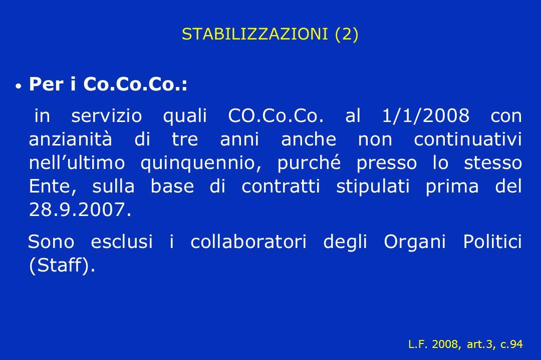 STABILIZZAZIONI (2) Per i Co.Co.Co.: