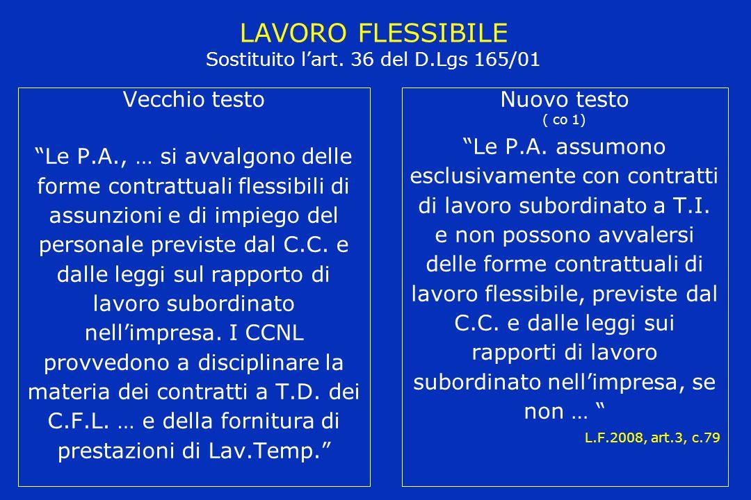 LAVORO FLESSIBILE Sostituito l'art. 36 del D.Lgs 165/01