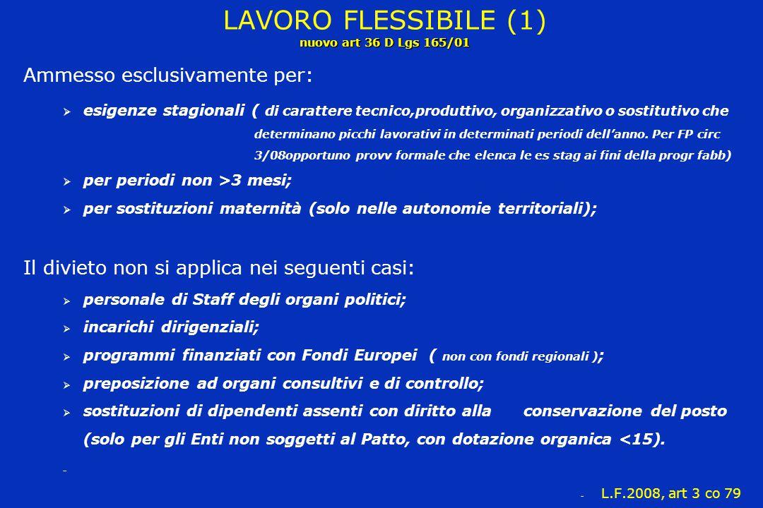 LAVORO FLESSIBILE (1) nuovo art 36 D Lgs 165/01