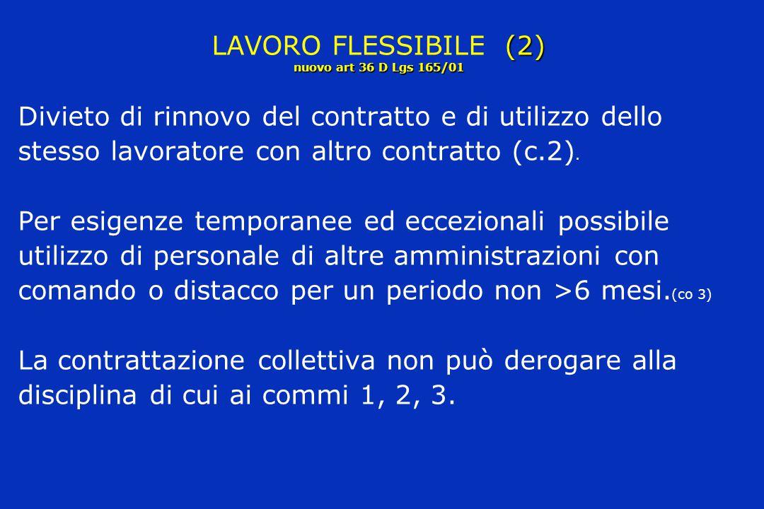 LAVORO FLESSIBILE (2) nuovo art 36 D Lgs 165/01