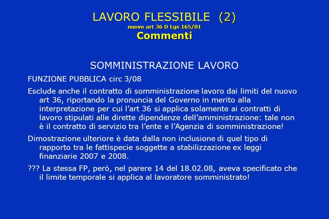 LAVORO FLESSIBILE (2) nuovo art 36 D Lgs 165/01 Commenti