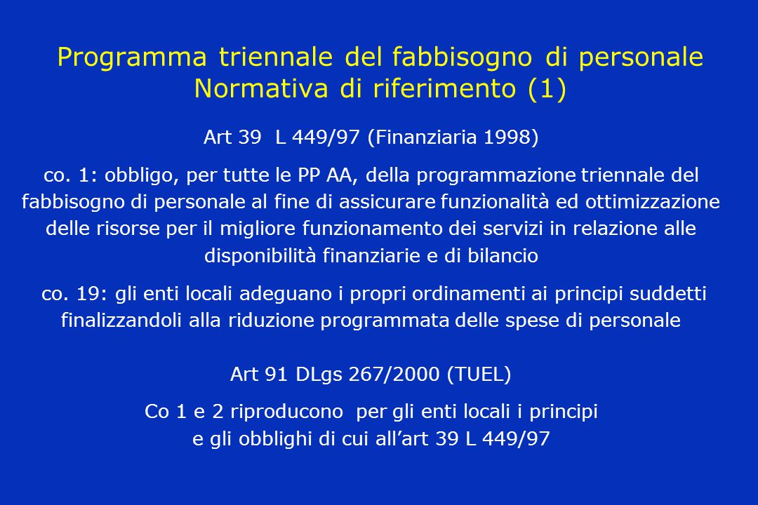 Programma triennale del fabbisogno di personale Normativa di riferimento (1)
