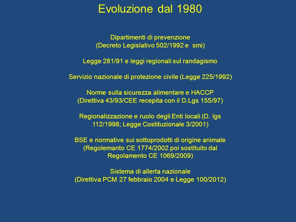 Evoluzione dal 1980 Dipartimenti di prevenzione