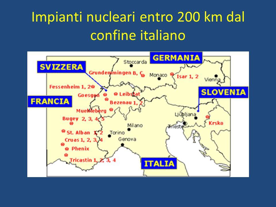 Impianti nucleari entro 200 km dal confine italiano