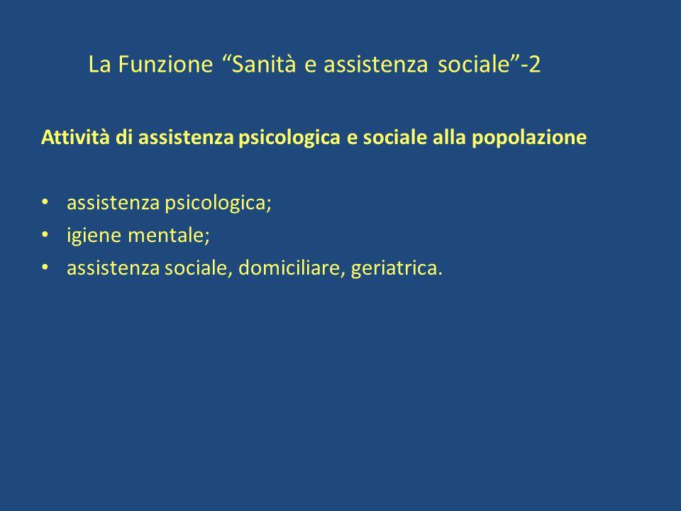 La Funzione Sanità e assistenza sociale -2