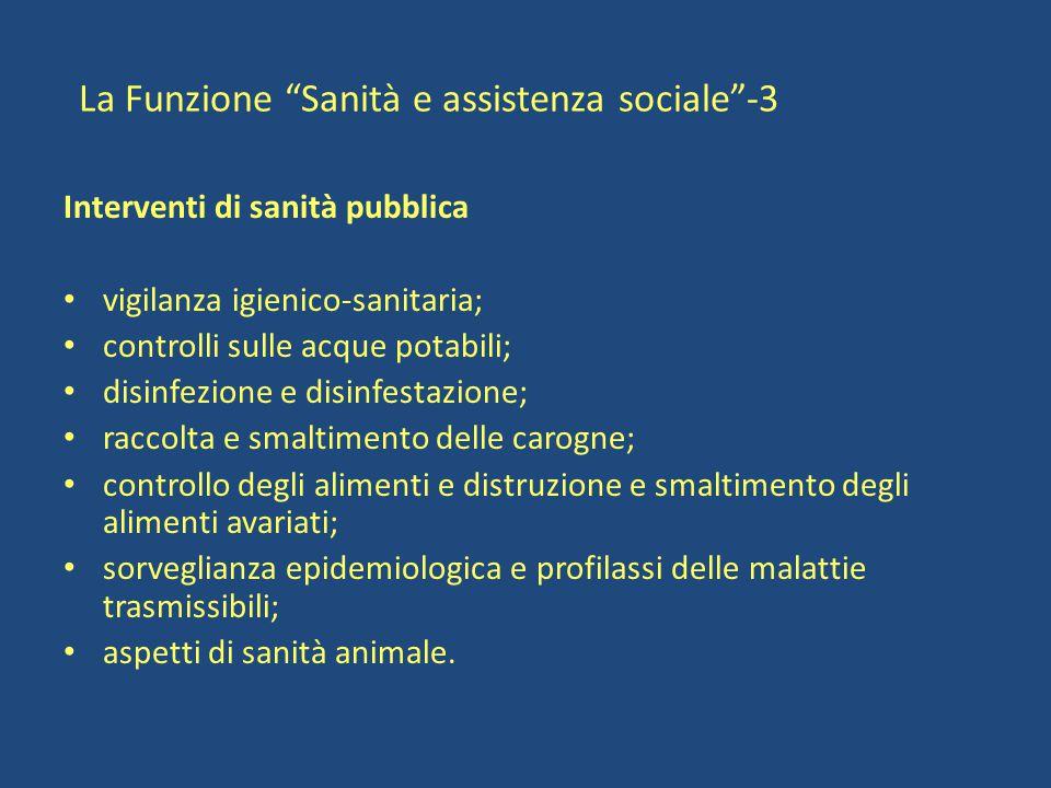 La Funzione Sanità e assistenza sociale -3