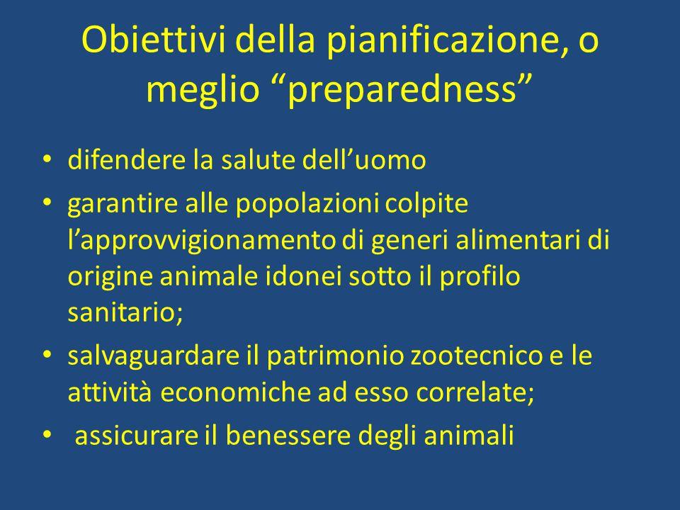 Obiettivi della pianificazione, o meglio preparedness