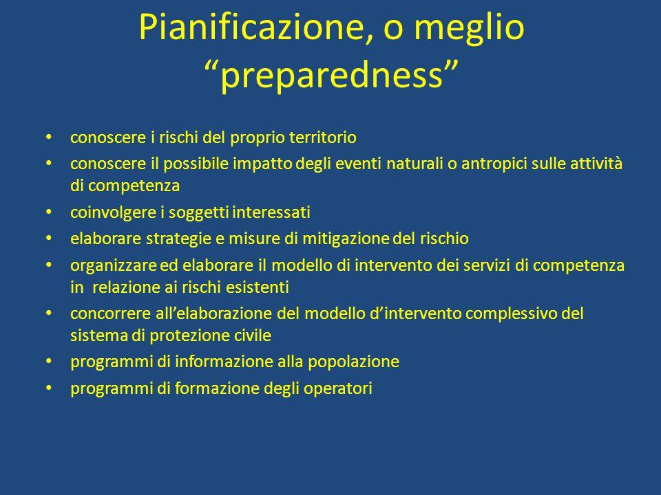 Pianificazione, o meglio preparedness