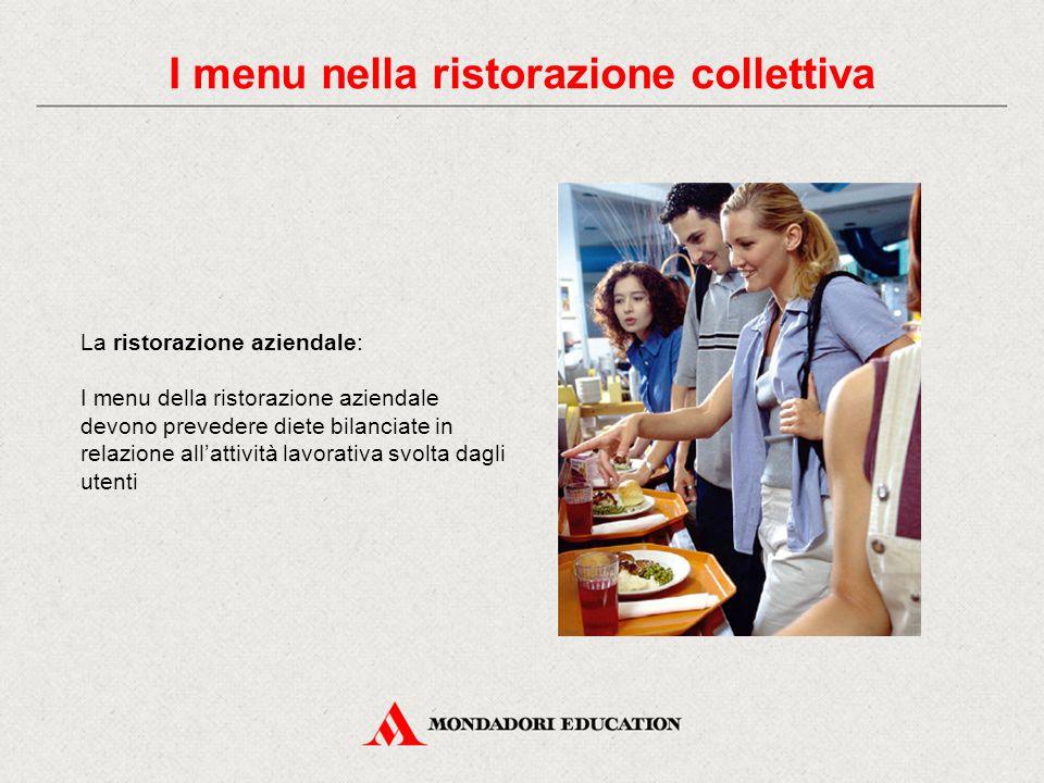 I menu nella ristorazione collettiva