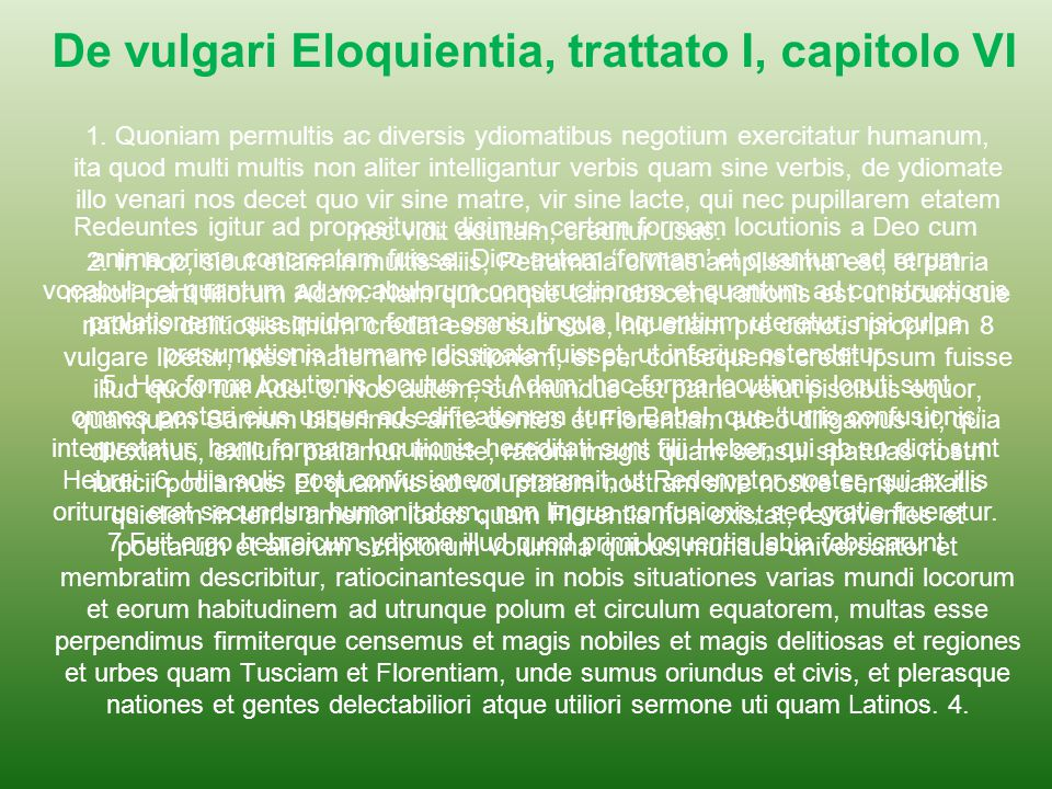De vulgari Eloquientia, trattato I, capitolo VI