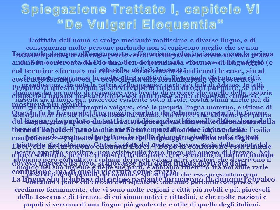 Spiegazione Trattato I, capitolo VI De Vulgari Eloquentia