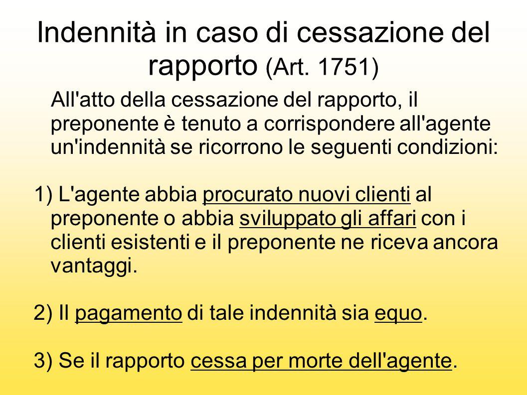 Indennità in caso di cessazione del rapporto (Art. 1751)
