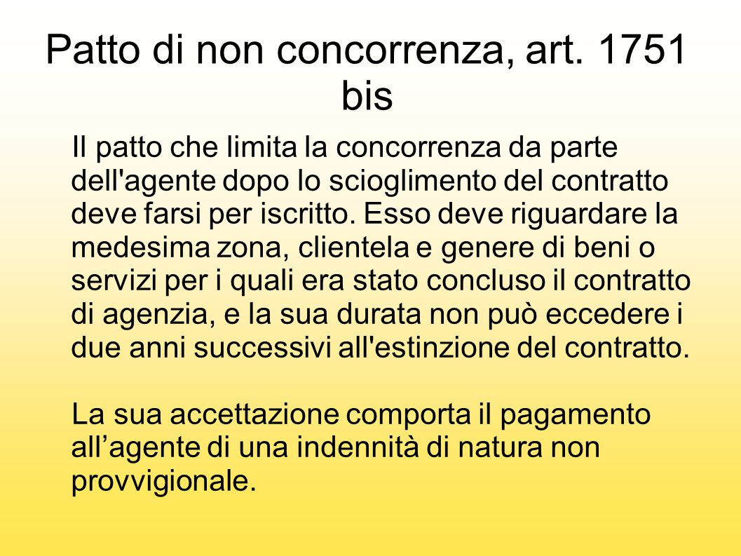 Patto di non concorrenza, art. 1751 bis