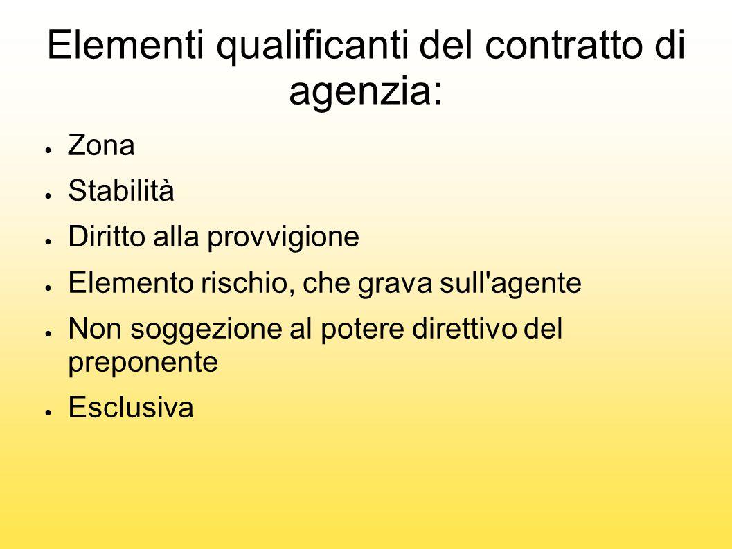 Elementi qualificanti del contratto di agenzia: