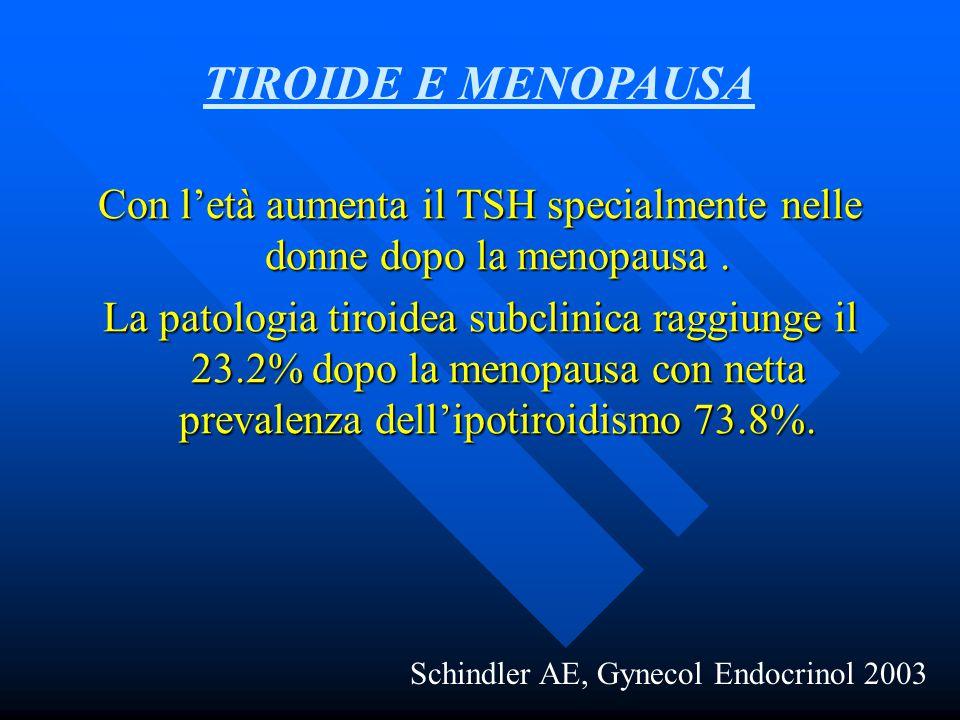 Con l'età aumenta il TSH specialmente nelle donne dopo la menopausa .